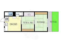 阪急千里線 山田駅 徒歩15分の賃貸アパート 1階2DKの間取り