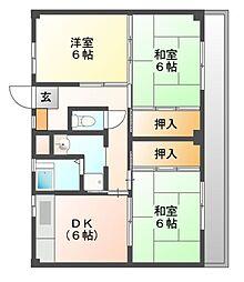 ビレッジハウス迎田3号棟[3階]の間取り