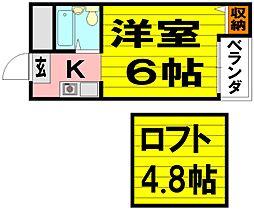 阪急千里線 関大前駅 徒歩3分の賃貸マンション 3階1Kの間取り
