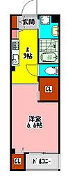 京阪本線 古川橋駅 徒歩9分の賃貸マンション 1階1Kの間取り