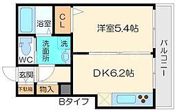シャーメゾンJIJI 1階1DKの間取り