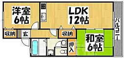 福岡県福岡市東区三苫2丁目の賃貸アパートの間取り