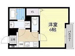 阪急神戸本線 園田駅 徒歩4分の賃貸アパート 1階1Kの間取り