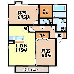 長崎県諫早市多良見町囲の賃貸アパートの間取り