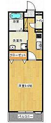JR山陽新幹線 岡山駅 徒歩21分の賃貸マンション 2階1Kの間取り