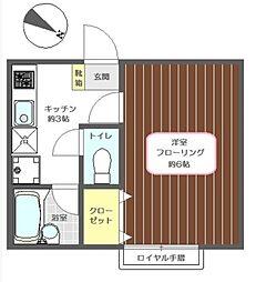 東京都江戸川区鹿骨3丁目の賃貸アパートの間取り