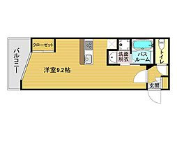 JR鹿児島本線 博多駅 徒歩10分の賃貸マンション 2階1Kの間取り