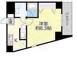 京阪本線 森小路駅 徒歩1分の賃貸マンション 2階1Kの間取り