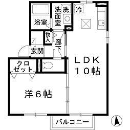 プランドール中道A棟[1階]の間取り