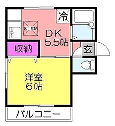 シェーネスハウス勝田台[202号室]の間取り
