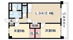 愛知県名古屋市緑区亀が洞2丁目の賃貸マンションの間取り