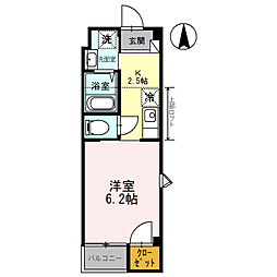 ローズミード総持寺[201号室]の間取り