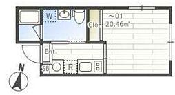 JASPER Komazawa 1階ワンルームの間取り