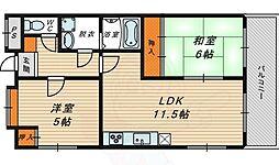 梅田鴻臚館 4階2LDKの間取り