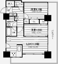 カスタリアタワー長堀橋 11階2LDKの間取り