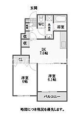徳島県徳島市名東町2丁目の賃貸アパートの間取り