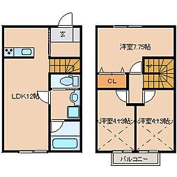 [テラスハウス] 福岡県久留米市荒木町荒木 の賃貸【/】の間取り