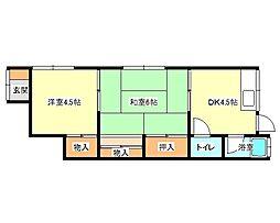 兵庫県神戸市垂水区西舞子5丁目の賃貸アパートの間取り