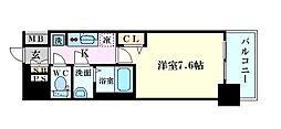 Osaka Metro千日前線 阿波座駅 徒歩5分の賃貸マンション 13階1Kの間取り