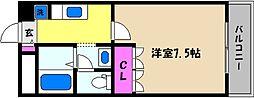 兵庫県芦屋市竹園町の賃貸アパートの間取り
