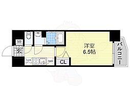 近鉄南大阪線 河堀口駅 徒歩3分の賃貸マンション 5階1Kの間取り