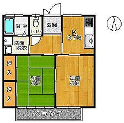 オオタアパート[202号室]の間取り