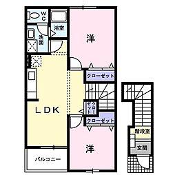 サンライズ松野[2階]の間取り