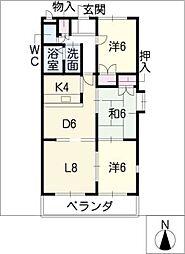 アビタシオン B棟[1階]の間取り