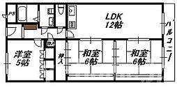 大阪府大阪市住吉区長居東2丁目の賃貸マンションの間取り