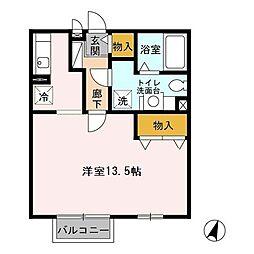 東京都八王子市上柚木2丁目の賃貸アパートの間取り