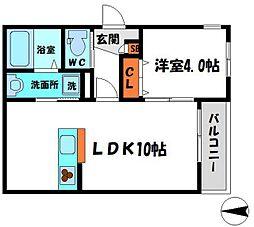 京阪本線 土居駅 徒歩8分の賃貸マンション 1階1LDKの間取り