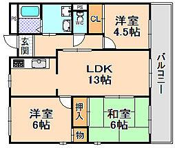 兵庫県伊丹市北本町3丁目の賃貸マンションの間取り