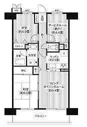 東京都大田区蒲田3丁目の賃貸マンションの間取り