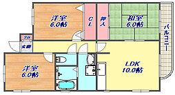 六甲ブランドニュー[4階]の間取り