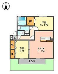 愛知県日進市香久山2丁目の賃貸アパートの間取り