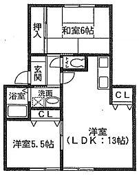 ゼクステット元禄橋[2階]の間取り