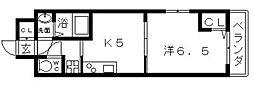 近鉄南大阪線 河堀口駅 徒歩7分の賃貸マンション 5階1Kの間取り