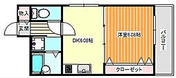 ウイングテル御崎[4階]の間取り