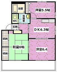 広島県安芸郡熊野町萩原2の賃貸アパートの間取り