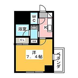 ヴィークブライト名古屋東別院 5階1Kの間取り