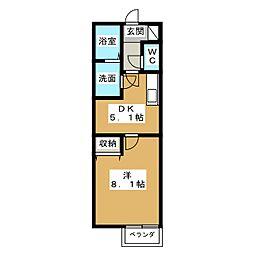愛知県名古屋市港区本宮町8の賃貸アパートの間取り