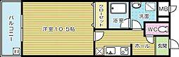 福岡県北九州市小倉北区下富野3丁目の賃貸マンションの間取り