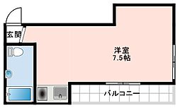 山口ビル 4階ワンルームの間取り