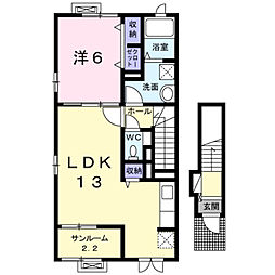 彦島塩浜町3丁目アパート[201号室]の間取り