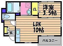 岡山県倉敷市中畝5の賃貸アパートの間取り