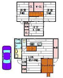 [テラスハウス] 大阪府茨木市上穂積4丁目 の賃貸【/】の間取り