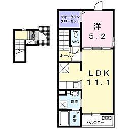 千葉県東金市川場の賃貸アパートの間取り