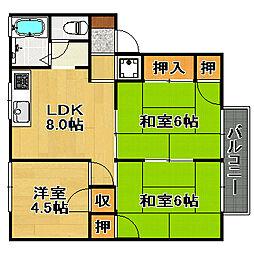 兵庫県宝塚市安倉北1丁目の賃貸アパートの間取り