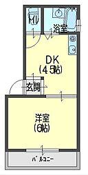 富士マンション 3階1Kの間取り