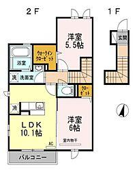 東京都立川市富士見町7丁目の賃貸アパートの間取り